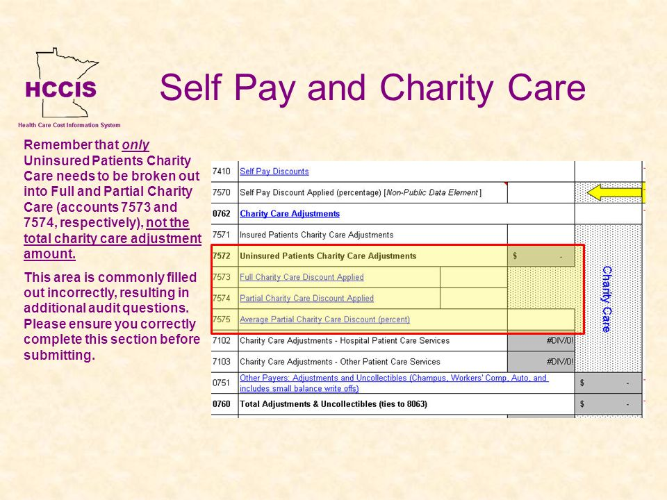 Self Pay and Charity Care Remember that only Uninsured Patients Charity Care needs to be broken out into Full and Partial Charity Care (accounts 7573