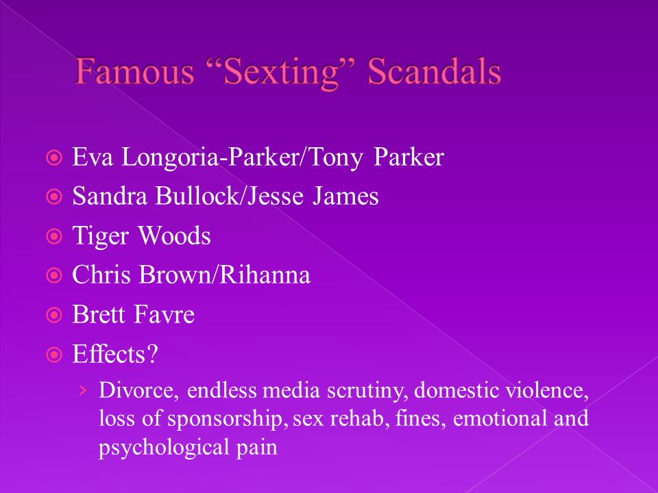 Eva Longoria-Parker/Tony Parker Sandra Bullock/Jesse James Tiger Woods Chris Brown/Rihanna Brett Favre Effects? Divorce, endless media scrutiny, domes