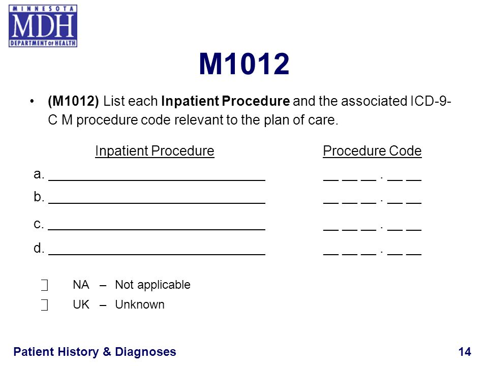 Patient History & Diagnoses14 M1012 (M1012) List each Inpatient Procedure and the associated ICD-9- C M procedure code relevant to the plan of care. N