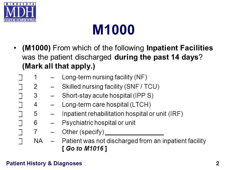 Patient History & Diagnoses13 M1010 Inpatient Diagnosis (cont.) Actively treated is defined as receiving something more than regularly scheduled medications and treatments needed to maintain or treat an existing disease If diagnosis not treated during an inpatient admission, dont list it e.g., Patient has a long-standing diagnosis of osteoarthritis, but was treated during hospitalization only for peptic ulcer disease Do not list osteoarthritis as an inpatient diagnosis