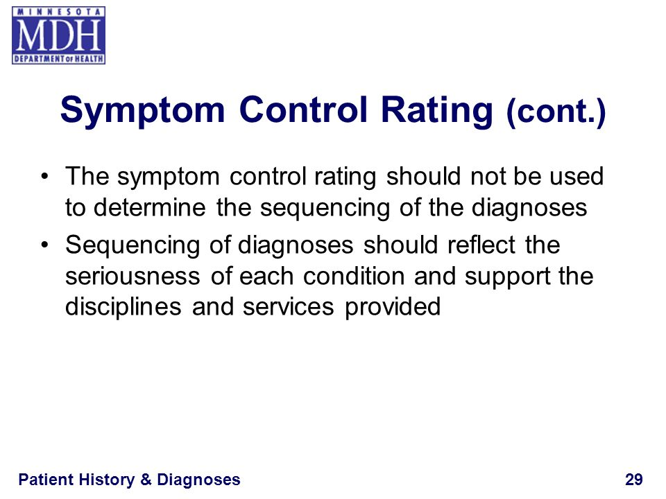 Patient History & Diagnoses29 Symptom Control Rating (cont.) The symptom control rating should not be used to determine the sequencing of the diagnose