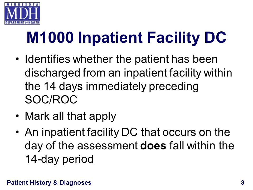 Patient History & Diagnoses3 M1000 Inpatient Facility DC Identifies whether the patient has been discharged from an inpatient facility within the 14 d