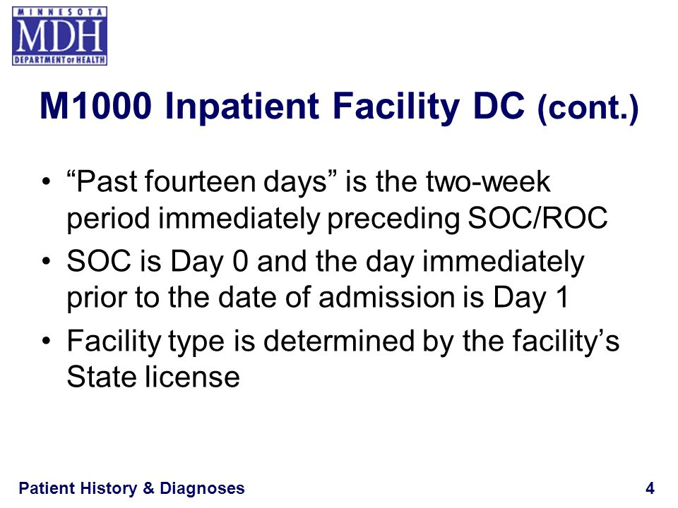 Patient History & Diagnoses4 M1000 Inpatient Facility DC (cont.) Past fourteen days is the two-week period immediately preceding SOC/ROC SOC is Day 0