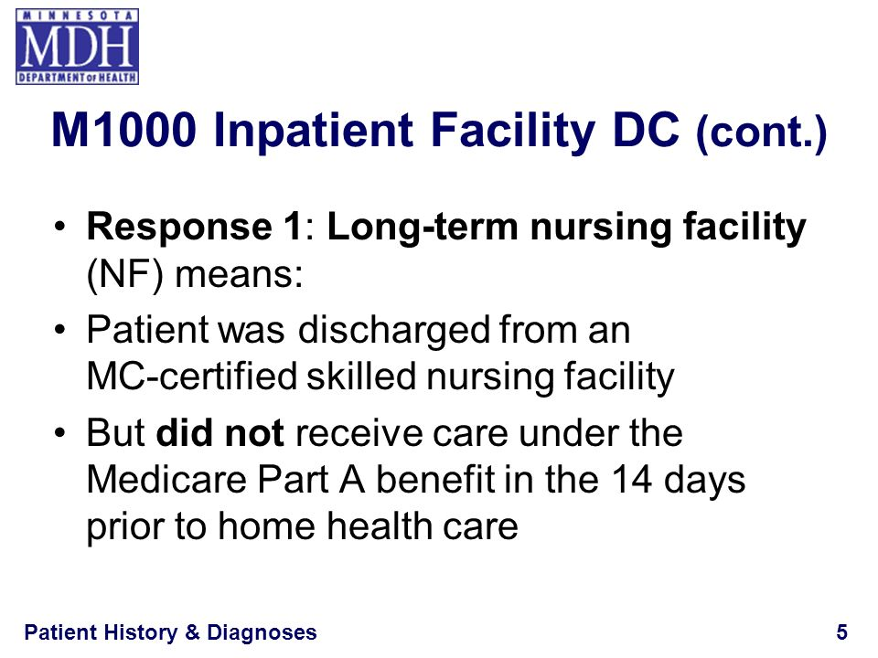 Patient History & Diagnoses16 M1016 (M1016)Diagnoses Requiring Medical or Treatment Regimen Change Within Past 14 Days: List the patient s Medical Diagnoses and ICD-9-C M codes at the level of highest specificity for those conditions requiring changed medical or treatment regimen within the past 14 days (no surgical, E codes, or V codes): NA–Not applicable (no medical or treatment regimen changes within the past 14 days) Inpatient Facility DiagnosisICD-9-C M Code a.__ __ __.