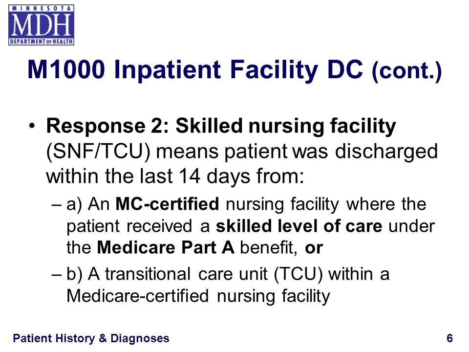 Patient History & Diagnoses6 Response 2: Skilled nursing facility (SNF/TCU) means patient was discharged within the last 14 days from: –a) An MC-certi