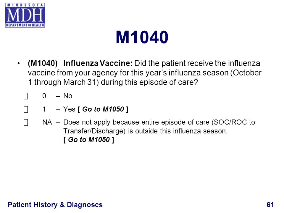 Patient History & Diagnoses61 M1040 (M1040)Influenza Vaccine: Did the patient receive the influenza vaccine from your agency for this years influenza