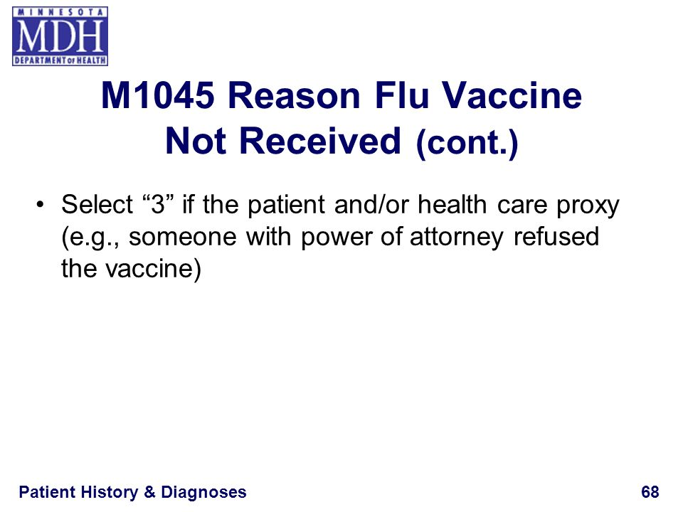 Patient History & Diagnoses68 Select 3 if the patient and/or health care proxy (e.g., someone with power of attorney refused the vaccine) M1045 Reason