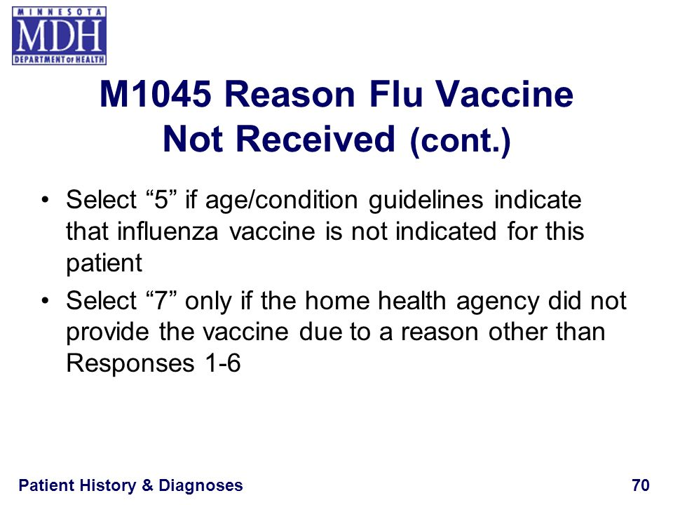 Patient History & Diagnoses70 Select 5 if age/condition guidelines indicate that influenza vaccine is not indicated for this patient Select 7 only if