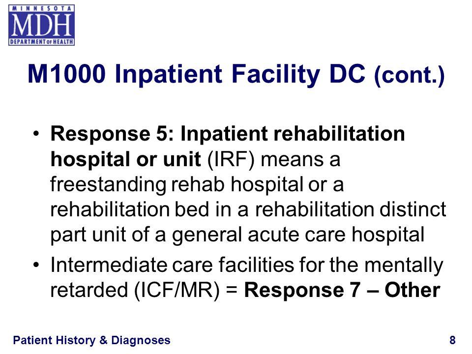 Patient History & Diagnoses8 Response 5: Inpatient rehabilitation hospital or unit (IRF) means a freestanding rehab hospital or a rehabilitation bed i