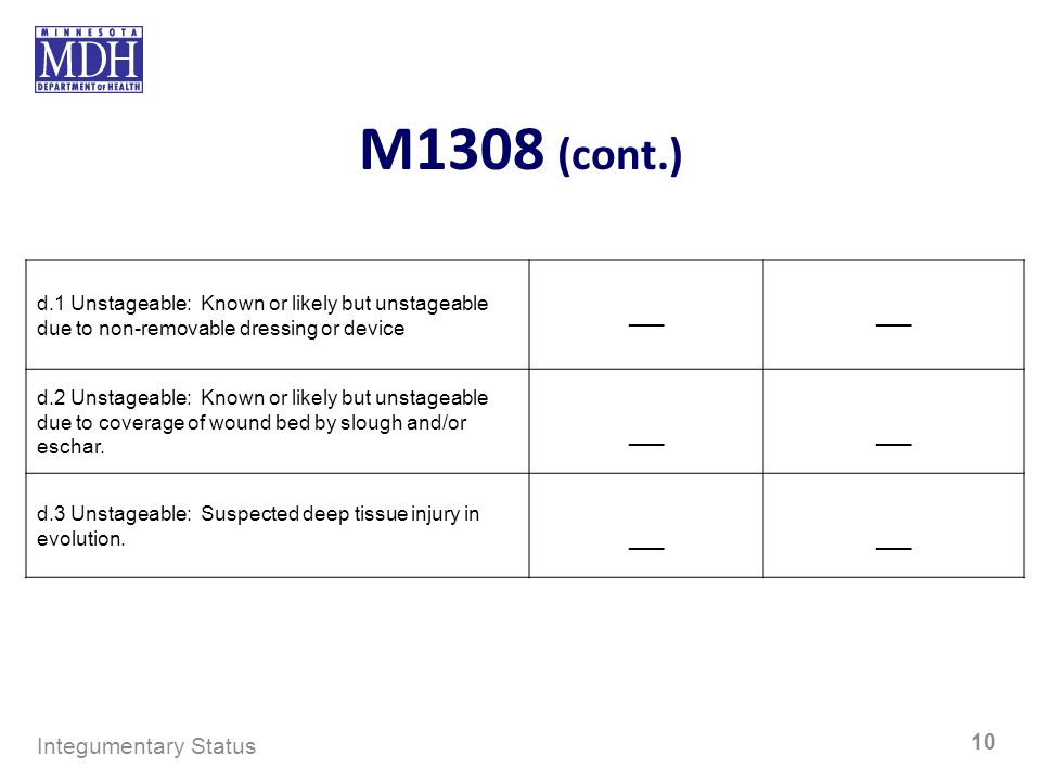M1308 (cont.) d.1 Unstageable: Known or likely but unstageable due to non-removable dressing or device ___ d.2 Unstageable: Known or likely but unstag