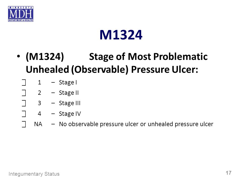M1324 (M1324)Stage of Most Problematic Unhealed (Observable) Pressure Ulcer: 1–Stage I 2–Stage II 3–Stage III 4–Stage IV NA–No observable pressure ulc