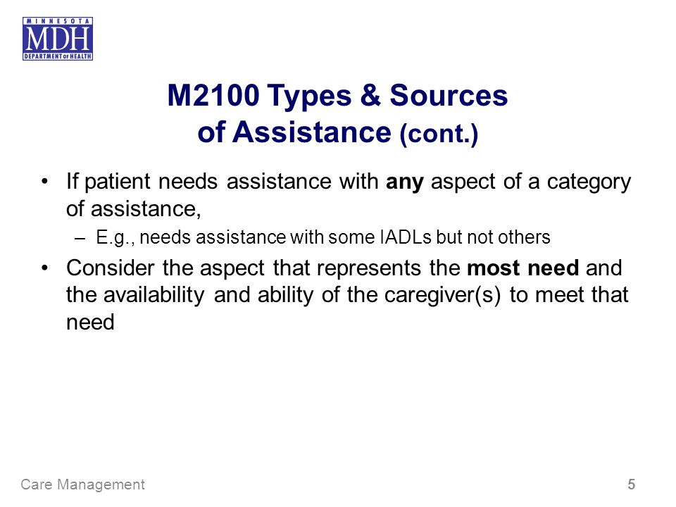 M2100 Types & Sources of Assistance (cont.) If patient needs assistance with any aspect of a category of assistance, –E.g., needs assistance with some