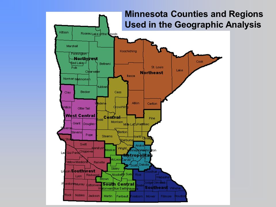Minnesota Counties and Regions Used in the Geographic Analysis
