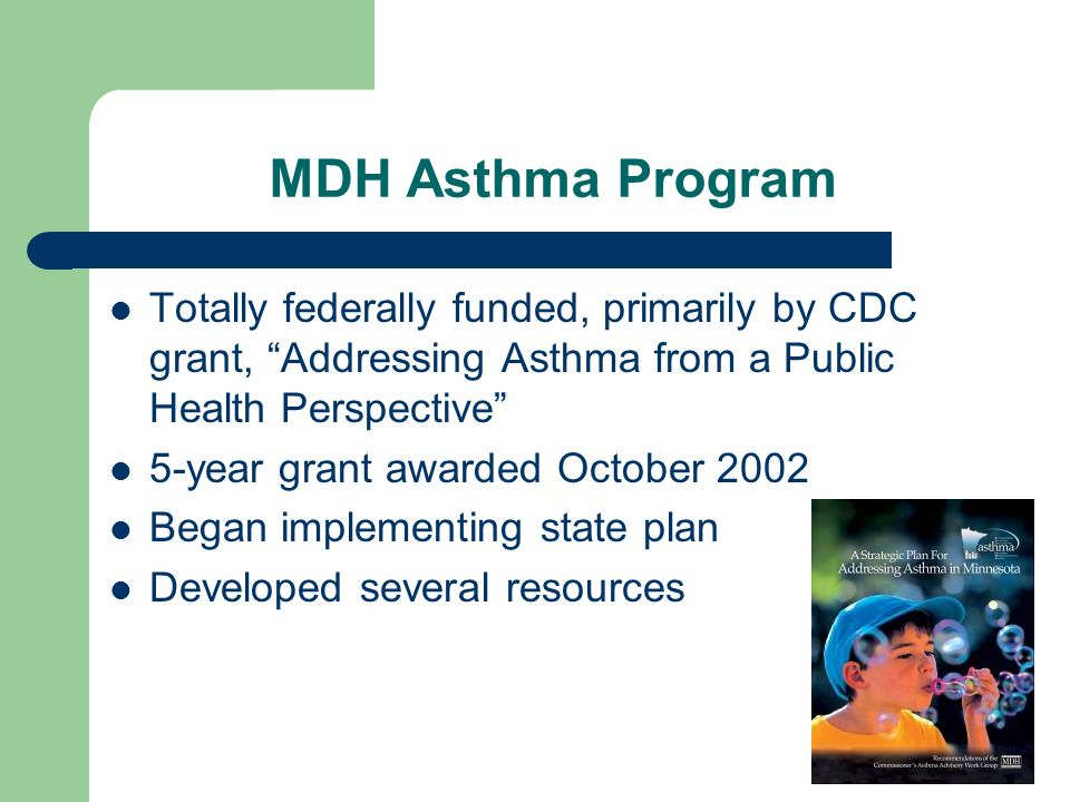 MDH Asthma Program Totally federally funded, primarily by CDC grant, Addressing Asthma from a Public Health Perspective 5-year grant awarded October 2002 Began implementing state plan Developed several resources