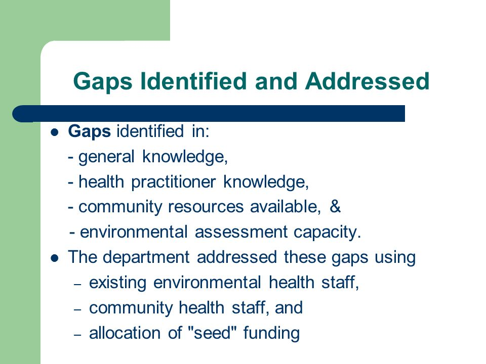 Gaps Identified and Addressed Gaps identified in: - general knowledge, - health practitioner knowledge, - community resources available, & - environmental assessment capacity.