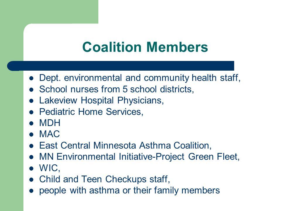 Coalition Members Dept. environmental and community health staff, School nurses from 5 school districts, Lakeview Hospital Physicians, Pediatric Home