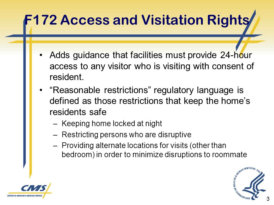 3 F172 Access and Visitation Rights Adds guidance that facilities must provide 24-hour access to any visitor who is visiting with consent of resident.