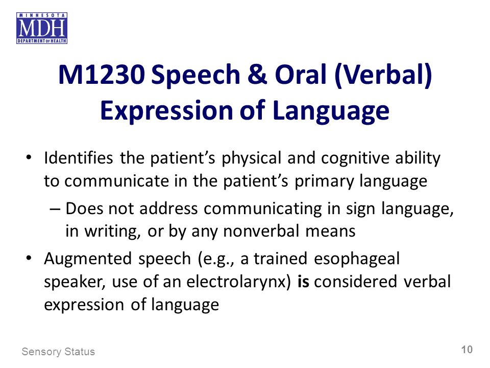 M1230 Speech & Oral (Verbal) Expression of Language Identifies the patients physical and cognitive ability to communicate in the patients primary lang