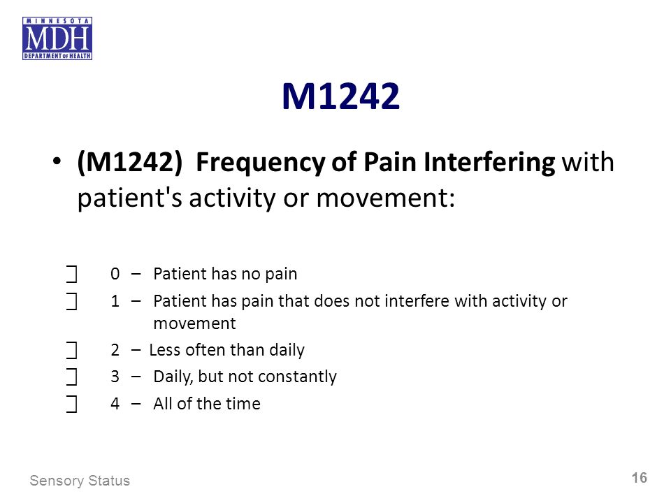M1242 (M1242) Frequency of Pain Interfering with patient's activity or movement: 0– Patient has no pain 1– Patient has pain that does not interfere wi