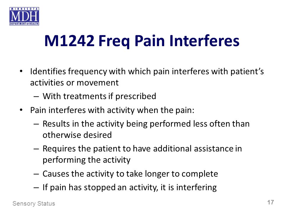 M1242 Freq Pain Interferes Identifies frequency with which pain interferes with patients activities or movement – With treatments if prescribed Pain i