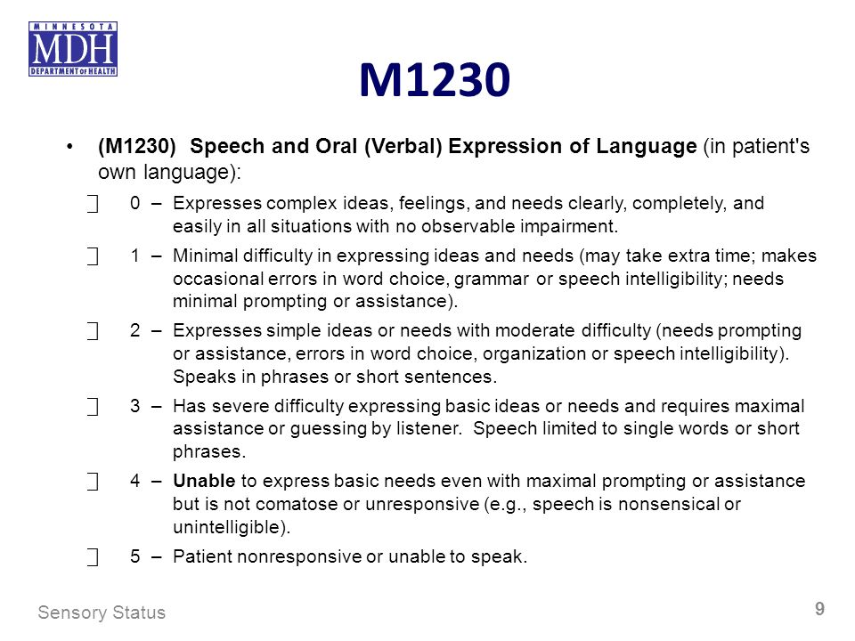 M1230 (M1230) Speech and Oral (Verbal) Expression of Language (in patient's own language): 0–Expresses complex ideas, feelings, and needs clearly, com