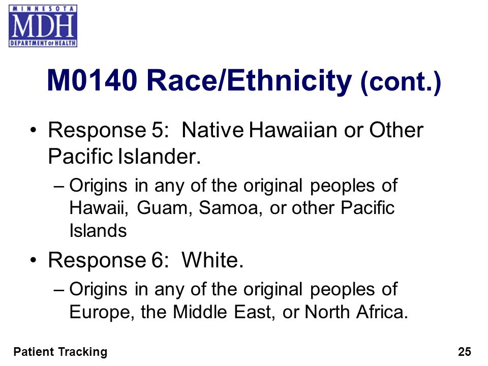 Patient Tracking25 M0140 Race/Ethnicity (cont.) Response 5: Native Hawaiian or Other Pacific Islander. –Origins in any of the original peoples of Hawa