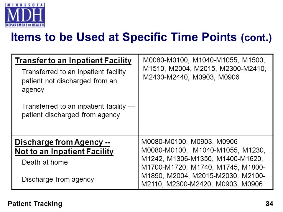 Patient Tracking34 Items to be Used at Specific Time Points (cont.) Transfer to an Inpatient Facility Transferred to an inpatient facility patient not