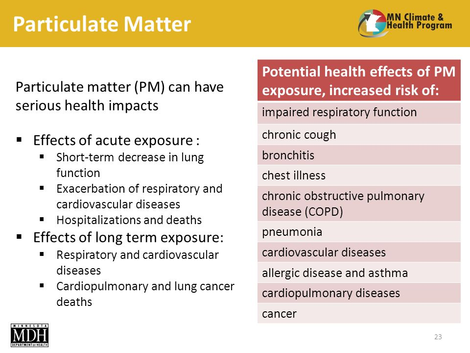 Particulate Matter Particulate matter (PM) can have serious health impacts Effects of acute exposure : Short-term decrease in lung function Exacerbation of respiratory and cardiovascular diseases Hospitalizations and deaths Effects of long term exposure: Respiratory and cardiovascular diseases Cardiopulmonary and lung cancer deaths 23 Potential health effects of PM exposure, increased risk of: impaired respiratory function chronic cough bronchitis chest illness chronic obstructive pulmonary disease (COPD) pneumonia cardiovascular diseases allergic disease and asthma cardiopulmonary diseases cancer