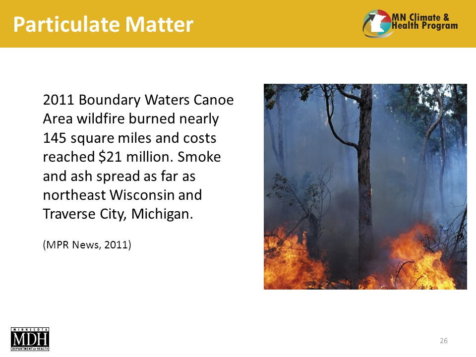 Particulate Matter Boundary Waters Canoe Area wildfire burned nearly 145 square miles and costs reached $21 million.