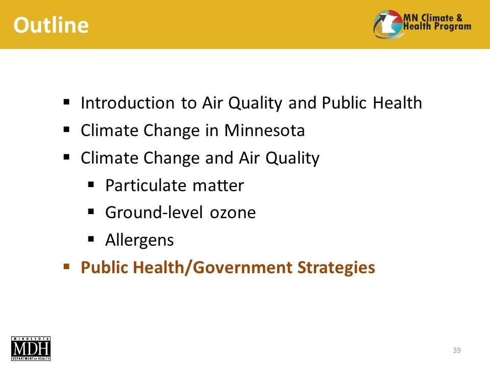 Outline Introduction to Air Quality and Public Health Climate Change in Minnesota Climate Change and Air Quality Particulate matter Ground-level ozone Allergens Public Health/Government Strategies 39