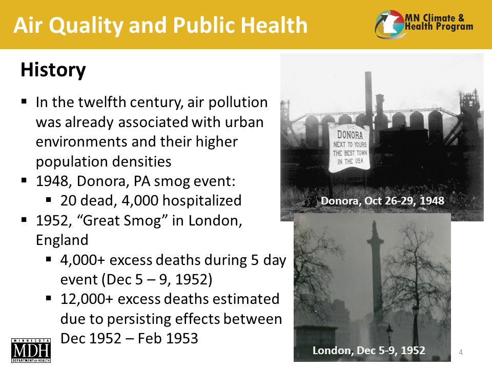 Air Quality and Public Health History In the twelfth century, air pollution was already associated with urban environments and their higher population densities 1948, Donora, PA smog event: 20 dead, 4,000 hospitalized 1952, Great Smog in London, England 4,000+ excess deaths during 5 day event (Dec 5 – 9, 1952) 12,000+ excess deaths estimated due to persisting effects between Dec 1952 – Feb London, Dec 5-9, 1952 Donora, Oct 26-29, 1948