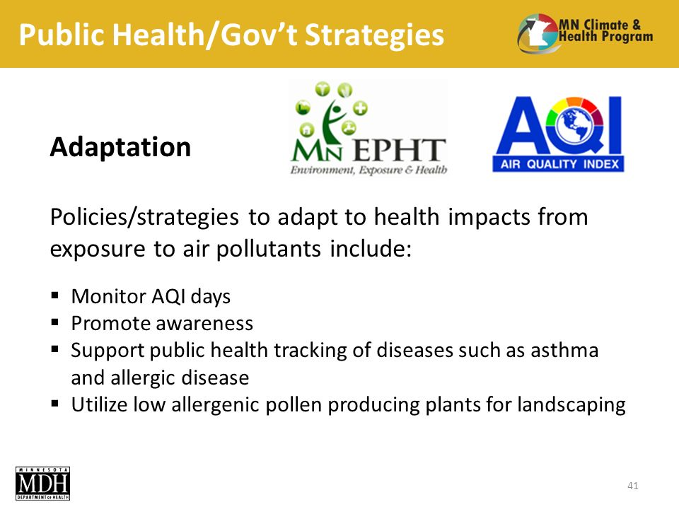 Public Health/Govt Strategies Adaptation Policies/strategies to adapt to health impacts from exposure to air pollutants include: Monitor AQI days Promote awareness Support public health tracking of diseases such as asthma and allergic disease Utilize low allergenic pollen producing plants for landscaping 41