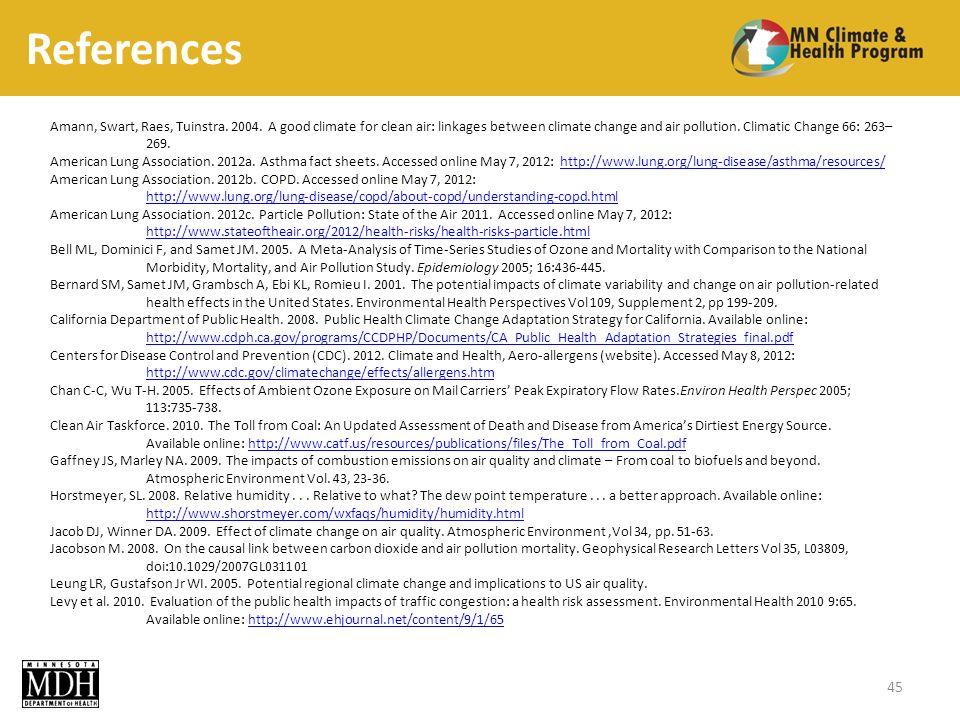 References 45 Amann, Swart, Raes, Tuinstra.2004.