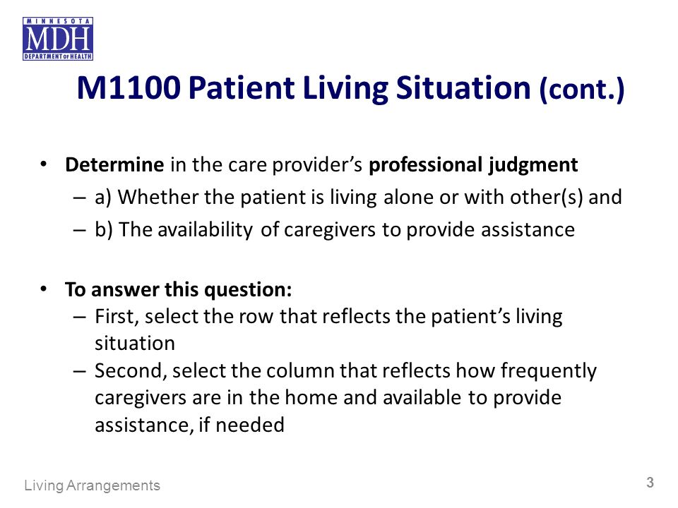 M1100 Patient Living Situation (cont.) Determine in the care providers professional judgment – a) Whether the patient is living alone or with other(s) and – b) The availability of caregivers to provide assistance To answer this question: – First, select the row that reflects the patients living situation – Second, select the column that reflects how frequently caregivers are in the home and available to provide assistance, if needed Living Arrangements 3