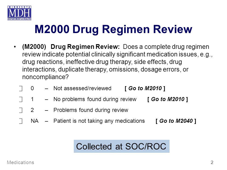 M2000 Drug Regimen Review (M2000)Drug Regimen Review: Does a complete drug regimen review indicate potential clinically significant medication issues,