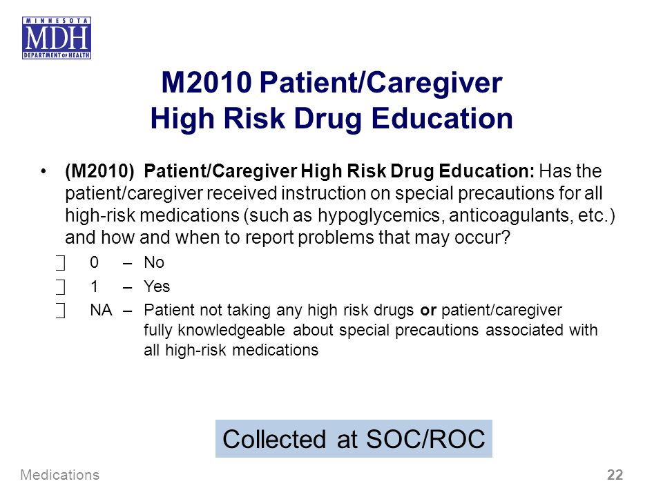 M2010 Patient/Caregiver High Risk Drug Education (M2010) Patient/Caregiver High Risk Drug Education: Has the patient/caregiver received instruction on