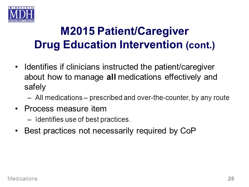 M2015 Patient/Caregiver Drug Education Intervention (cont.) Identifies if clinicians instructed the patient/caregiver about how to manage all medicati