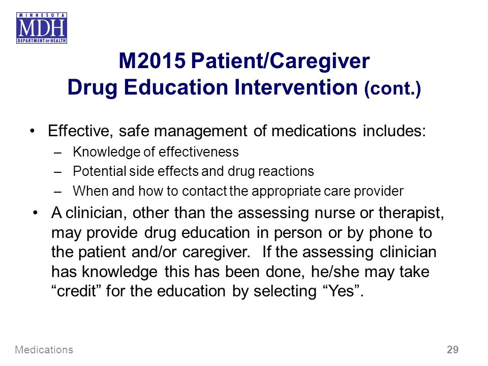 M2015 Patient/Caregiver Drug Education Intervention (cont.) Effective, safe management of medications includes: –Knowledge of effectiveness –Potential