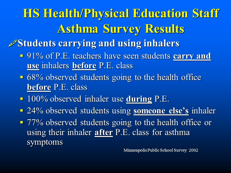 HS Health/Physical Education Staff Asthma Survey Results Students carrying and using inhalers Students carrying and using inhalers 91% of P.E.