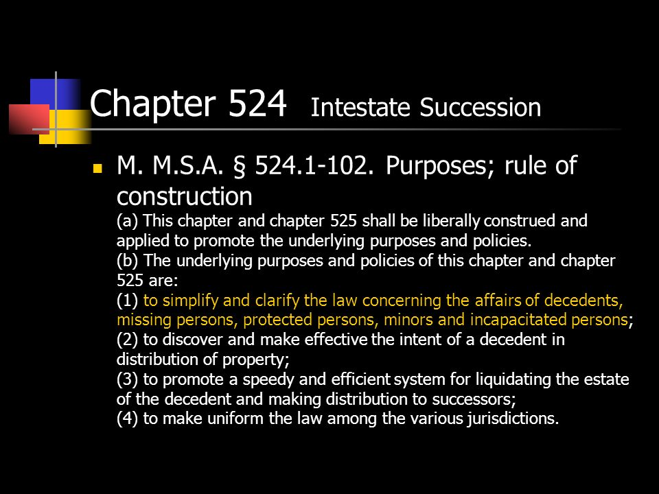 Chapter 524 Intestate Succession M. M.S.A. § 524.1-102.