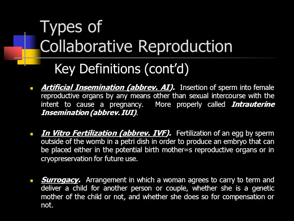 Types of Collaborative Reproduction Artificial Insemination (abbrev.