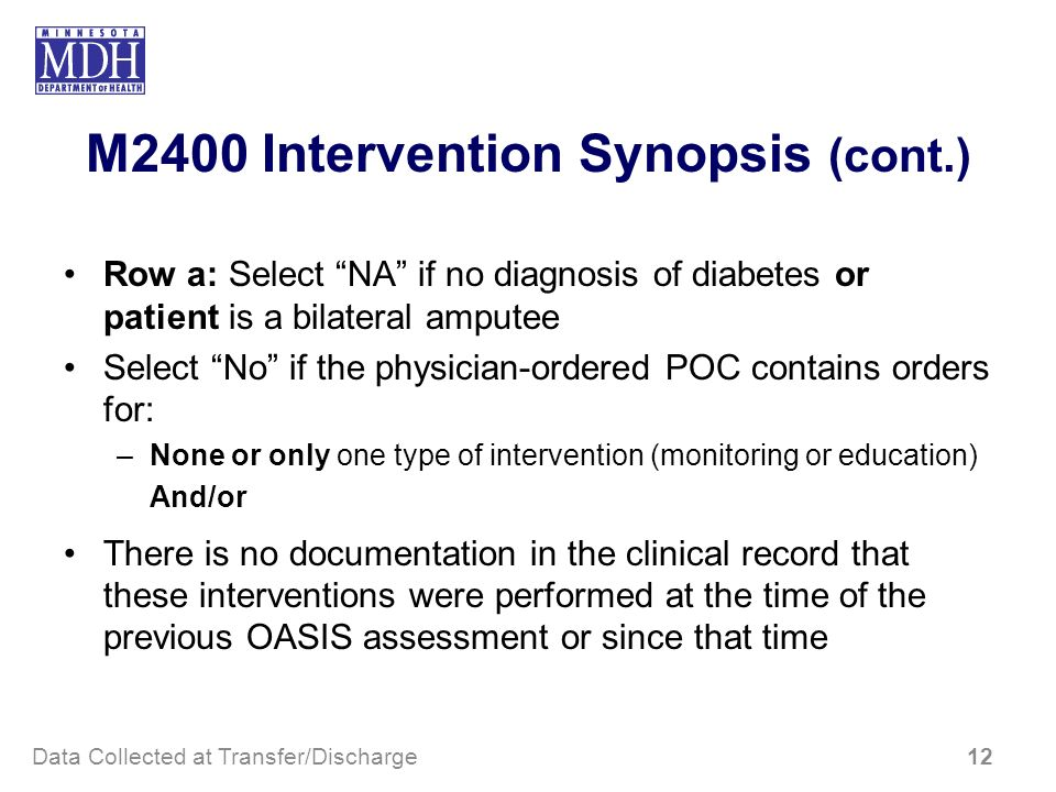M2400 Intervention Synopsis (cont.) Row a: Select NA if no diagnosis of diabetes or patient is a bilateral amputee Select No if the physician-ordered
