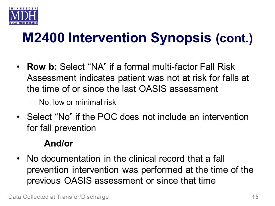 M2400 Intervention Synopsis (cont.) Row b: Select NA if a formal multi-factor Fall Risk Assessment indicates patient was not at risk for falls at the