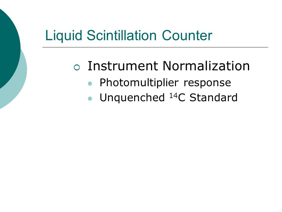 Liquid Scintillation Counter Instrument Normalization Photomultiplier response Unquenched 14 C Standard