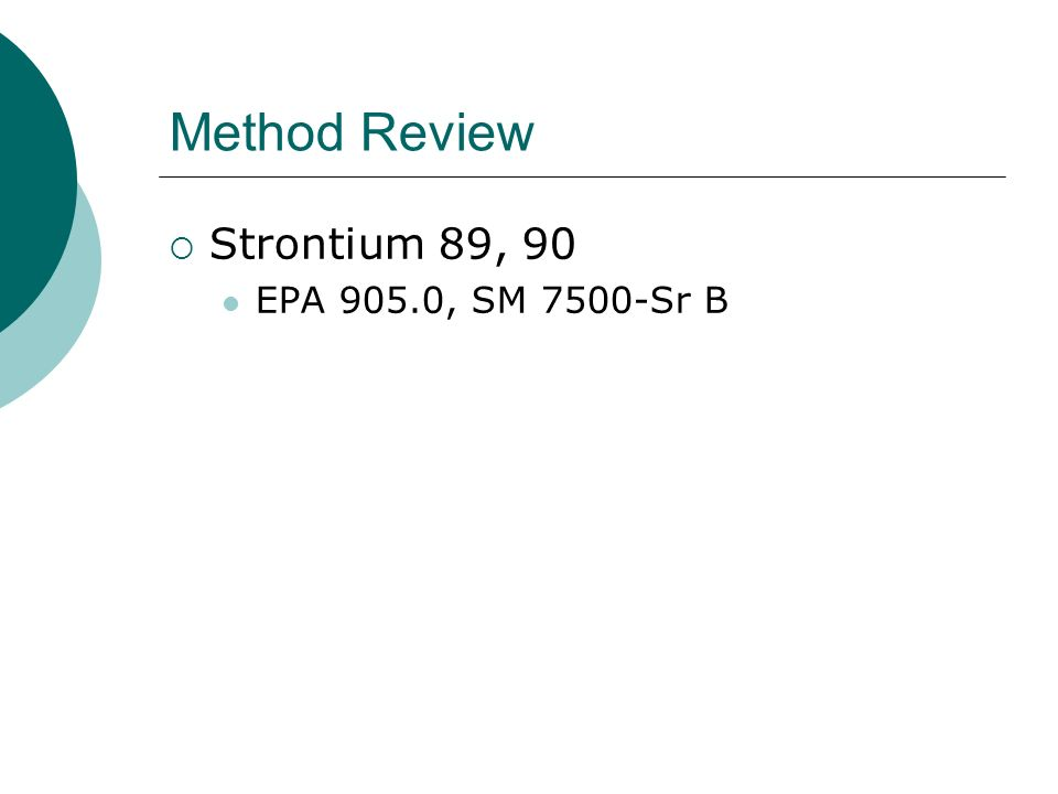Method Review Strontium 89, 90 EPA 905.0, SM 7500-Sr B