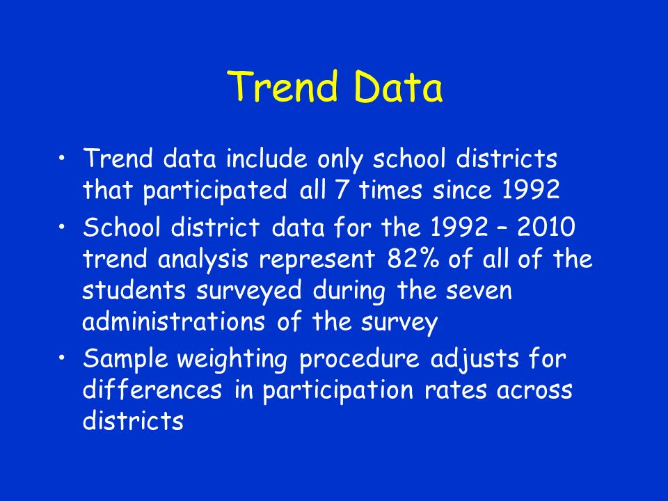 Trend Data Trend data include only school districts that participated all 7 times since 1992 School district data for the 1992 – 2010 trend analysis represent 82% of all of the students surveyed during the seven administrations of the survey Sample weighting procedure adjusts for differences in participation rates across districts