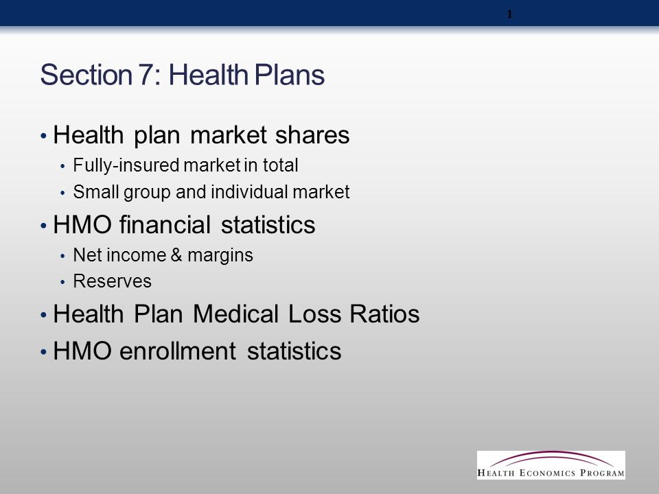 Section 7: Health Plans Health plan market shares Fully-insured market in total Small group and individual market HMO financial statistics Net income & margins Reserves Health Plan Medical Loss Ratios HMO enrollment statistics 1