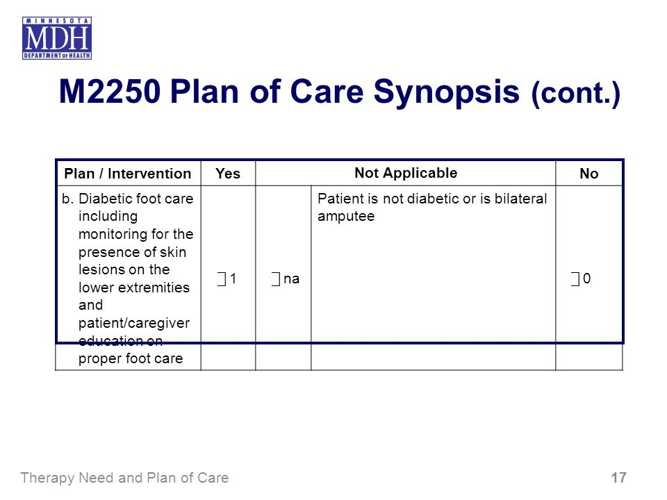 M2250 Plan of Care Synopsis (cont.) Plan / InterventionYes Not Applicable No b. Diabetic foot care including monitoring for the presence of skin lesio