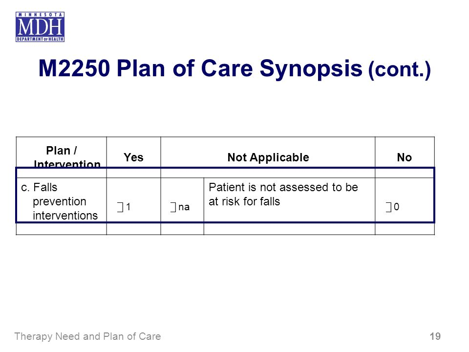 M2250 Plan of Care Synopsis (cont.) Plan / Intervention YesNot ApplicableNo c. Falls prevention interventions 1 na Patient is not assessed to be at ri