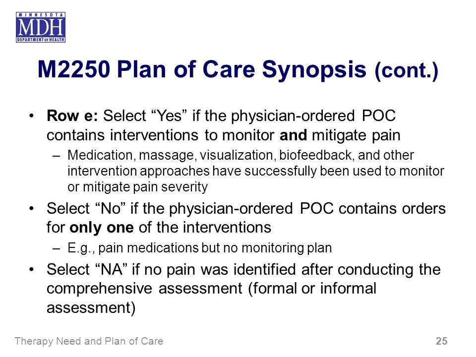M2250 Plan of Care Synopsis (cont.) Row e: Select Yes if the physician-ordered POC contains interventions to monitor and mitigate pain –Medication, ma